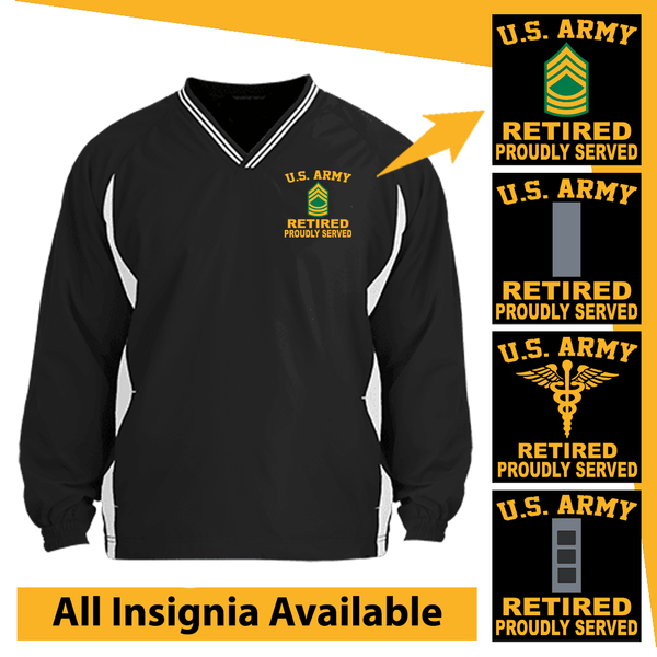 US Army Insignia Retired Proudly Served Embroidered Windshirt
