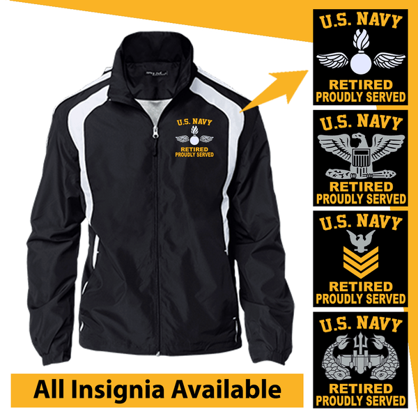 US Navy Insignia Retired Proudly Served Embroidered Jersey-Lined Jacket