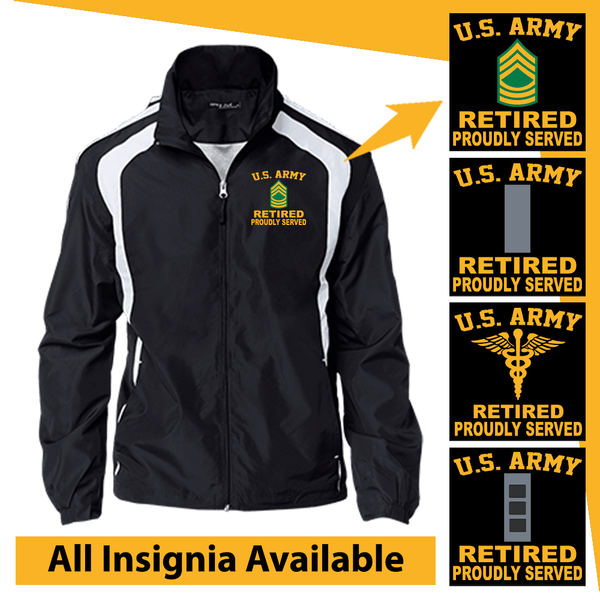 US Army Insignia Retired Proudly Served Embroidered Jersey-Lined Jacket