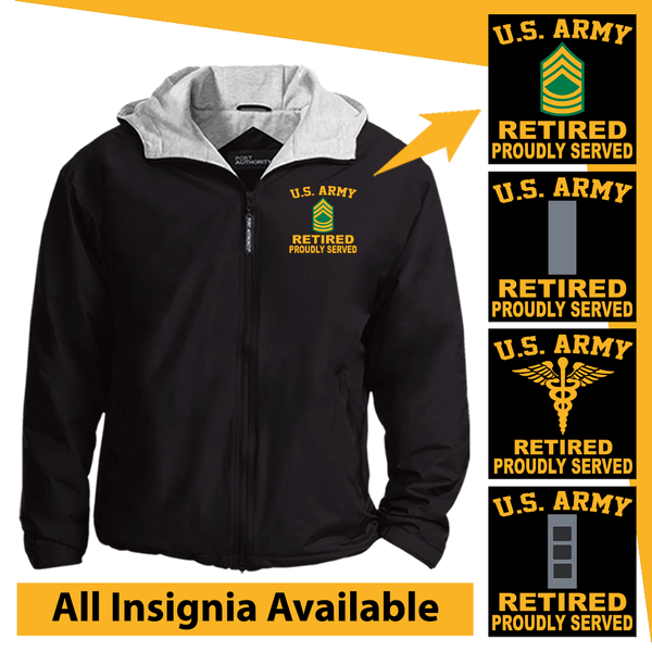 US Army Insignia Retired Proudly Served Embroidered Team Jacket
