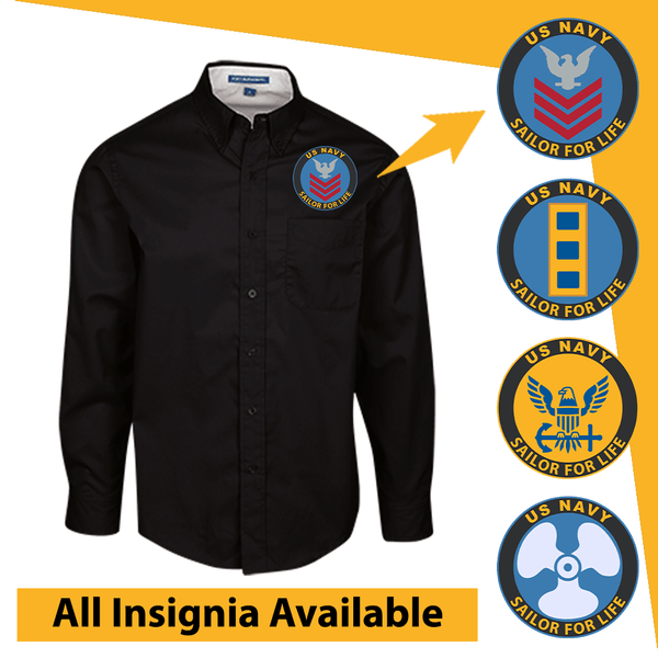US Navy Insignia Sailor For Life Embroidered Dress Shirt