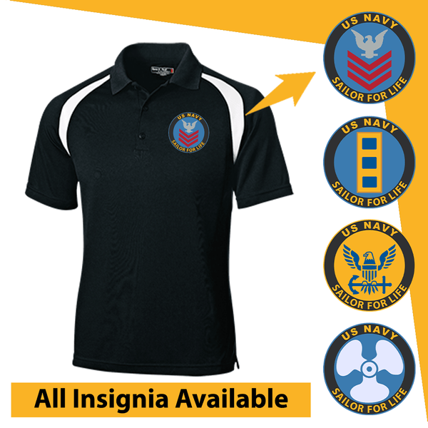 US Navy Insignia Sailor For Life Embroidered Golf Shirt