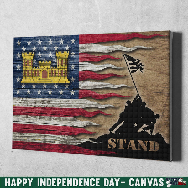 U.S. Army Corps of Engineers Stand For The Flag 12x8 Inches Landscape Canvas .75in Frame