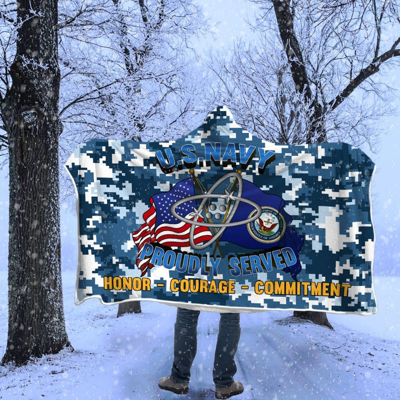 U.S Navy Electronics technician Navy ET Proudly Served Hooded Blanket