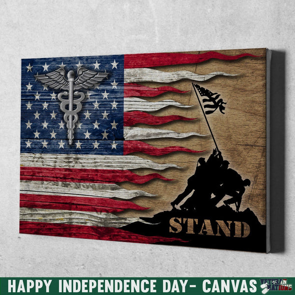 U.S Navy Hospital Corpsman Navy HM Stand For The Flag 24x16 Inches  Landscape Canvas .75in Frame
