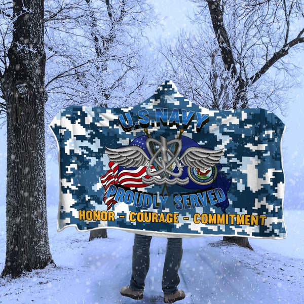 U.S Navy Naval aircrewman Navy AW Proudly Served Hooded Blanket