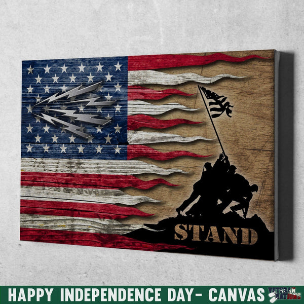 U.S Navy Radioman Navy RM Stand For The Flag 18x12 Inches Landscape Canvas .75in Frame