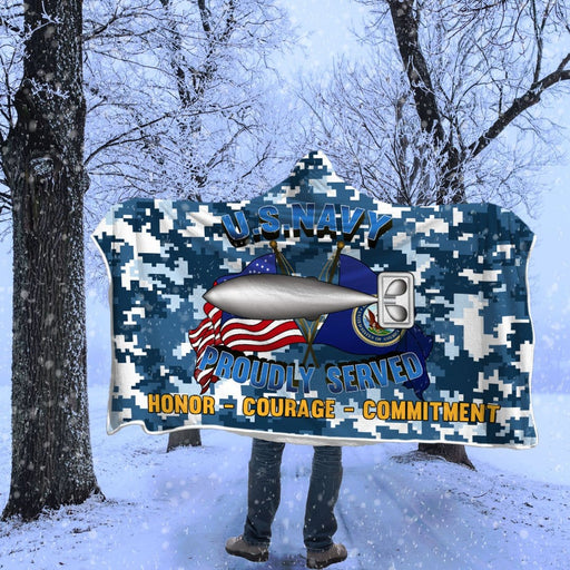 U.S Navy Torpedoman's mate Navy TM Proudly Served Hooded Blanket