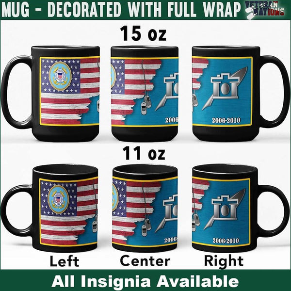 US Coast Guard Insignia With American Flag - Personalized 11oz - 15oz Black Mug