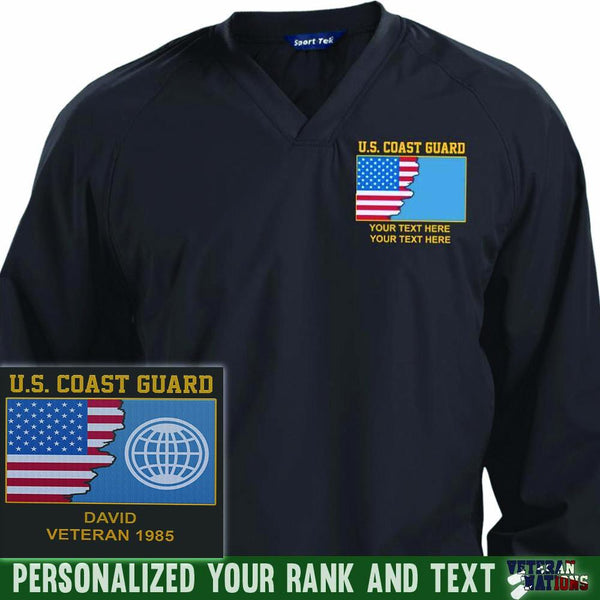 US Coast Guard Rate - Personalized Embroidered Sport-Tek® Pullover V-Neck Windshirt