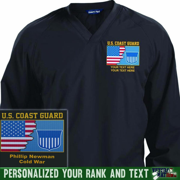 US Coast Guard Logo - Personalized Embroidered Sport-Tek® Pullover V-Neck Windshirt