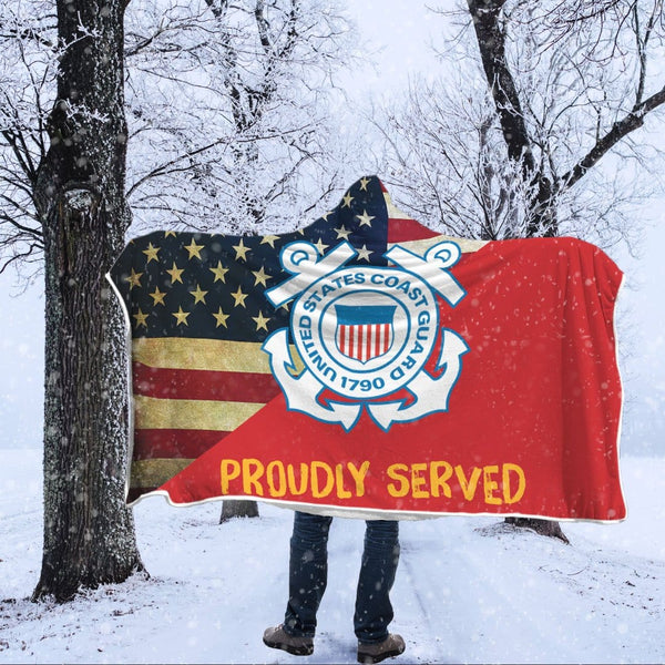 US Coast Guard Proudly Served Hooded Blanket