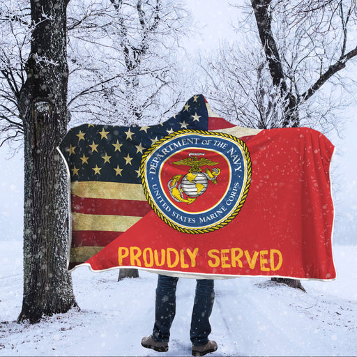 US Marine Proudly Served Hooded Blanket