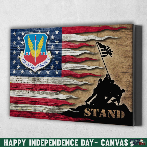 US Air Force Air Combat Command Stand For The Flag 12x8 Inches Landscape Canvas .75in Frame