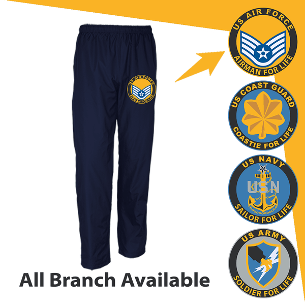 US Military Insignia Soldier For Life Embroidered Men's Wind Pants