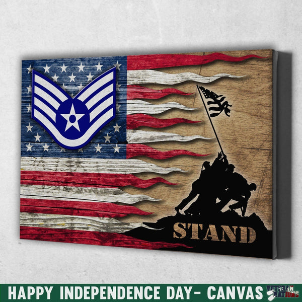 US Air Force E-5 Staff Sergeant SSgt E5 Noncommissioned Officer Ranks AF Rank Stand For The Flag 18x12 Inches Landscape Canvas .75in Frame