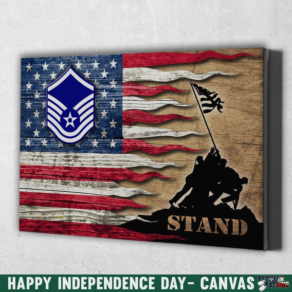 US Air Force E-7 Master Sergeant MSgt E7 Noncommissioned Officer Ranks AF Rank Stand For The Flag 18x12 Inches Landscape Canvas .75in Frame