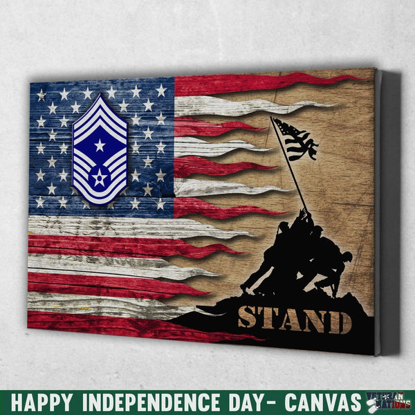 US Air Force E-9 Command Chief Master Sergeant CCM E9 Noncommissioned Officer Ranks Stand For The Flag 24x16 Inches  Landscape Canvas .75in Frame