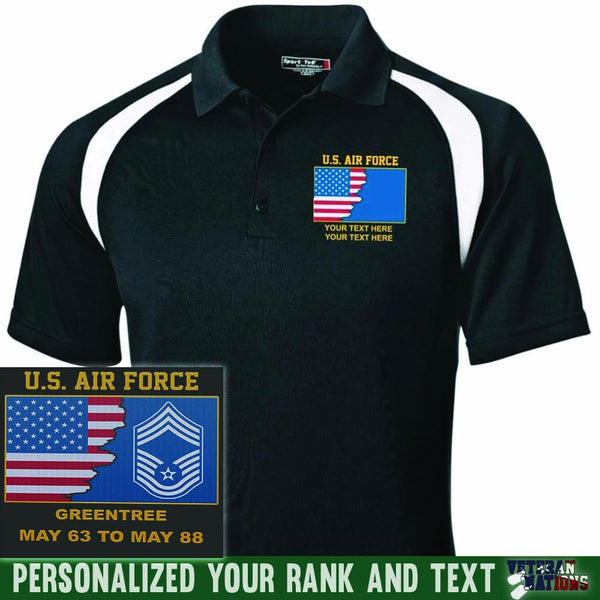 US Air Force Ranks - Personalized Embroidered Sport-Tek® Golf Shirt