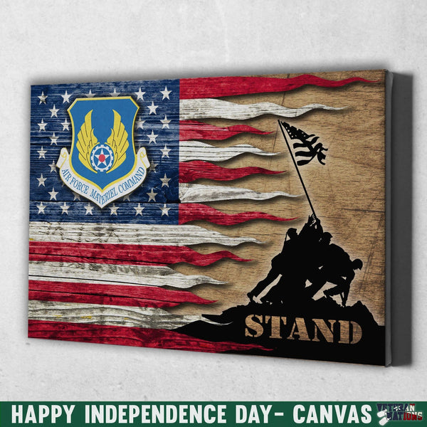 US Air Force Materiel Command Stand For The Flag 12x8 Inches Landscape Canvas .75in Frame