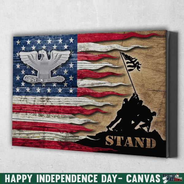 US Air Force O-6 Colonel Col O6 Field Officer Ranks Stand For The Flag 18x12 Inches Landscape Canvas .75in Frame