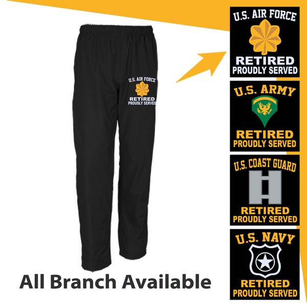 US Military Insignia Retired Proudly Served Embroidered Men's Wind Pants