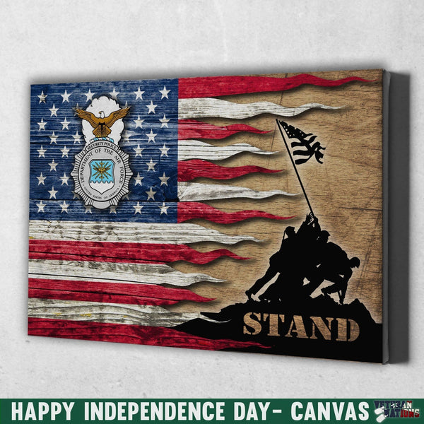 US Air Force Security Police Stand For The Flag 24x16 Inches  Landscape Canvas .75in Frame