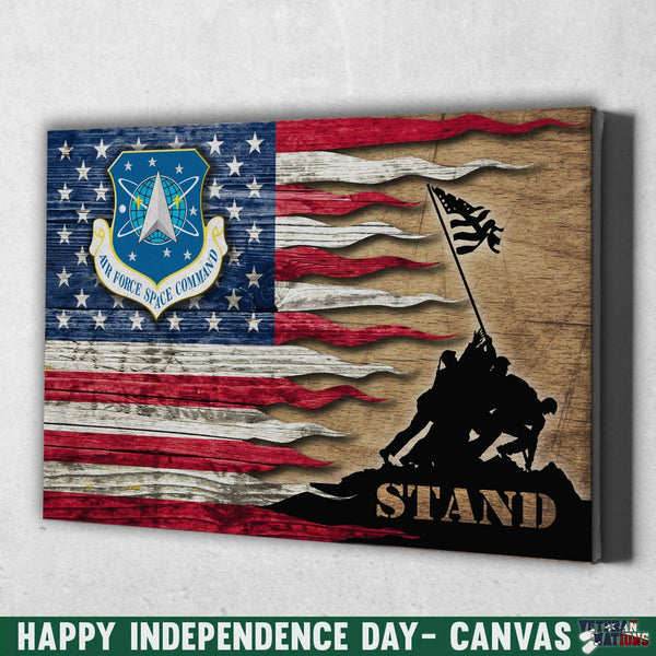 US Air Force Space Command Stand For The Flag 12x8 Inches Landscape Canvas .75in Frame
