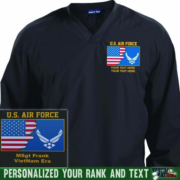 US Air Force Logo - Personalized Embroidered Sport-Tek® Pullover V-Neck Windshirt