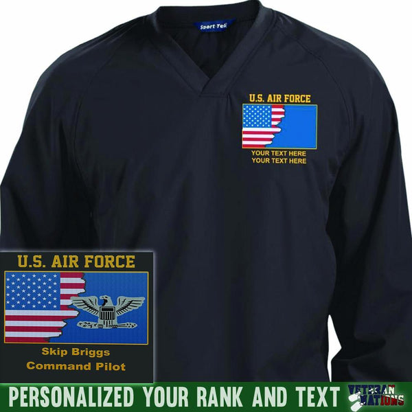 US Air Force Ranks - Personalized Embroidered Sport-Tek® Pullover V-Neck Windshirt