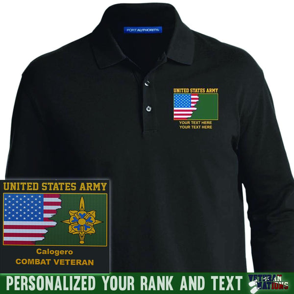 US Army Branch - Personalized Embroidered Port Authority® LS Polo Shirt