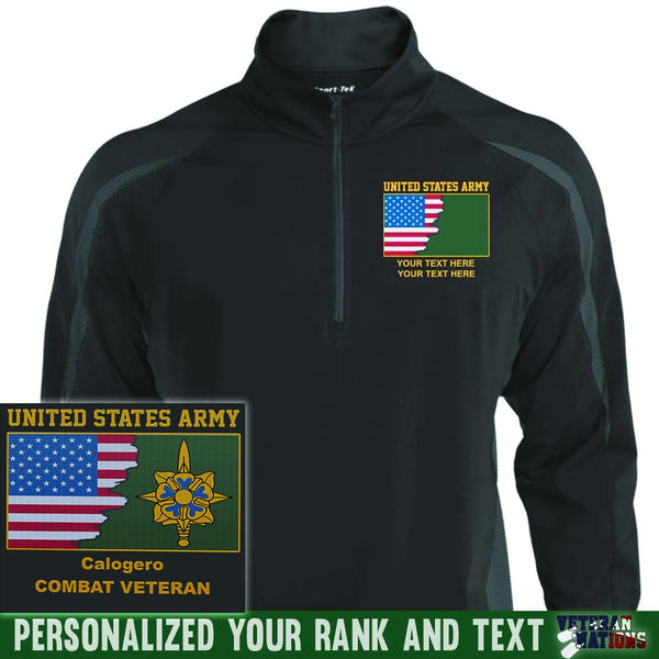 US Army Branch - Personalized Embroidered Sport-Tek® ST851 Sport-Tek Men's Sport Wicking Colorblock 1/2 Zip