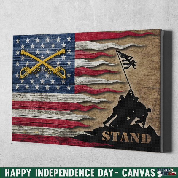 US Army Cavalry Stand For The Flag 18x12 Inches Landscape Canvas .75in Frame