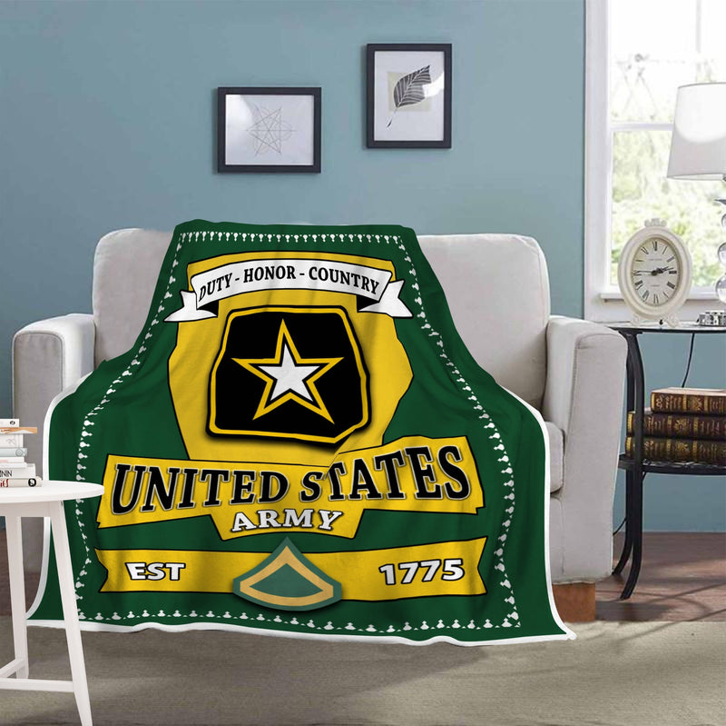 US Army E-3 Private First Class E3 PFC Enlisted Soldier Blanket Cozy Plush Fleece Blanket - 50x60
