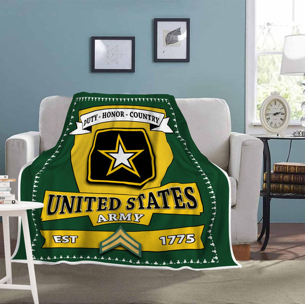 US Army E-4 Corporal E4 CPL Noncommissioned Officer Blanket Cozy Plush Fleece Blanket - 50x60