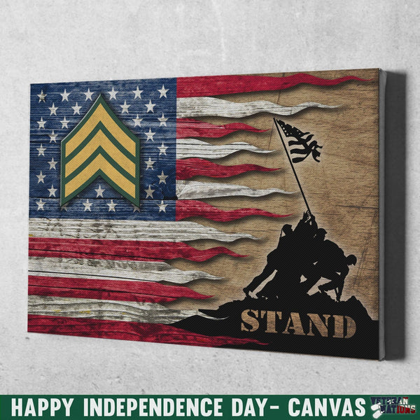 US Army E-5 Sergeant E5 SGT Noncommissioned Officer Stand For The Flag 12x8 Inches Landscape Canvas .75in Frame