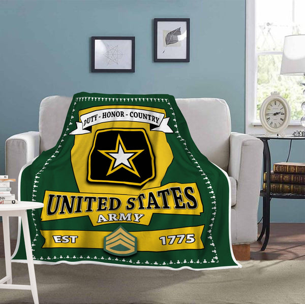 US Army E-6 Staff Sergeant E6 SSG Noncommissioned Officer Blanket Cozy Plush Fleece Blanket - 50x60