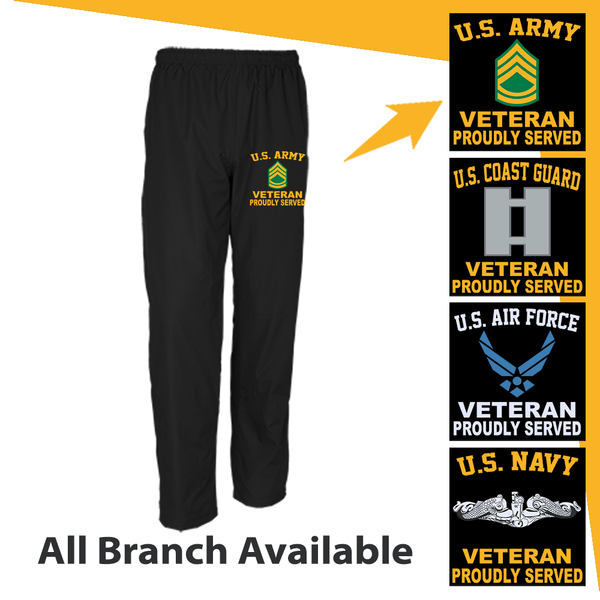 US Military Insignia Veteran Proudly Served Embroidered Men's Wind Pants