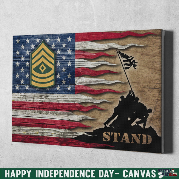 US Army E-8 First Sergeant E8 1SG Noncommissioned Officer Stand For The Flag 12x8 Inches Landscape Canvas .75in Frame