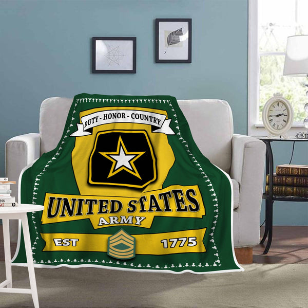 US Army E-8 Master Sergeant E8 MSG Noncommissioned Officer Blanket Cozy Plush Fleece Blanket - 50x60