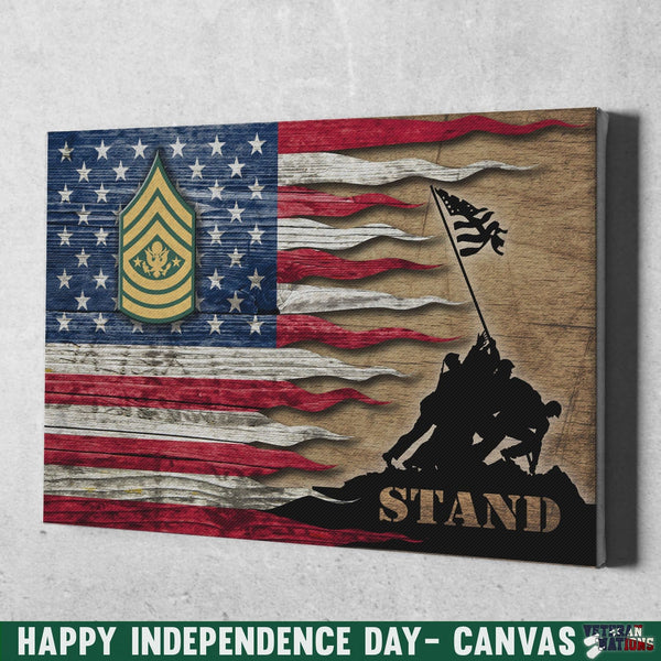 US Army E-9 Sergeant Major of the Army E9 SMA Noncommissioned Officer Stand For The Flag 12x8 Inches Landscape Canvas .75in Frame
