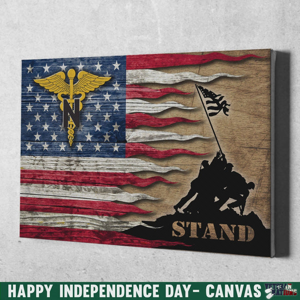 US Army Nurse Corps Stand For The Flag 18x12 Inches Landscape Canvas .75in Frame