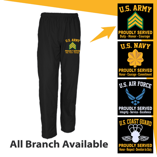 US Military Insignia Proudly Served Core Values Embroidered Men's Wind Pants