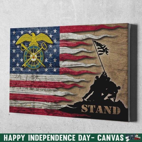 US Army Quartermaster Corps Stand For The Flag 24x16 Inches  Landscape Canvas .75in Frame