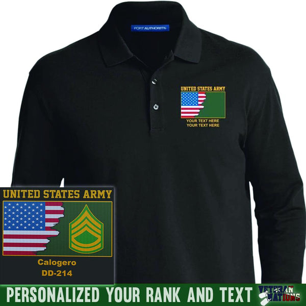 US Army Ranks - Personalized Embroidered Port Authority® LS Polo Shirt