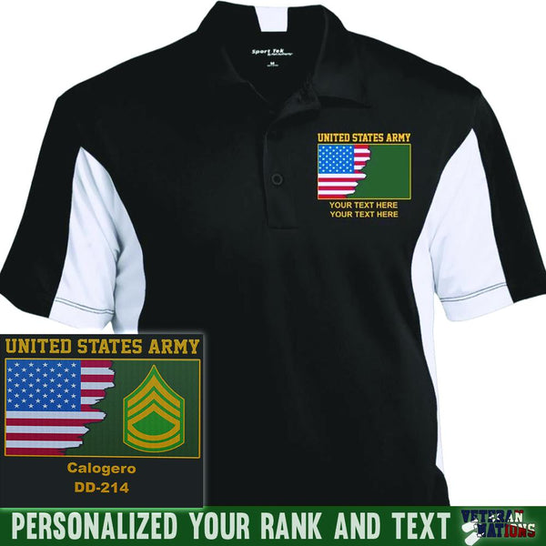 US Army Ranks - Personalized Embroidered Sport-Tek® Performance Polo Shirt