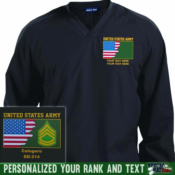 US Army Ranks - Personalized Embroidered Sport-Tek® Pullover V-Neck Windshirt