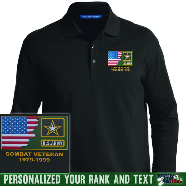 US Army Logo - Personalized Embroidered Port Authority® LS Polo Shirt