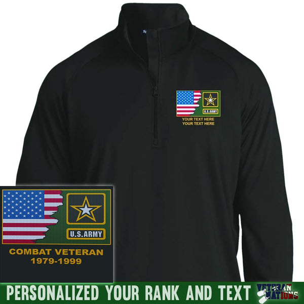 US Army Logo - Personalized Embroidered Sport-Tek® 1/2 Zip Raglan Performance Pullover