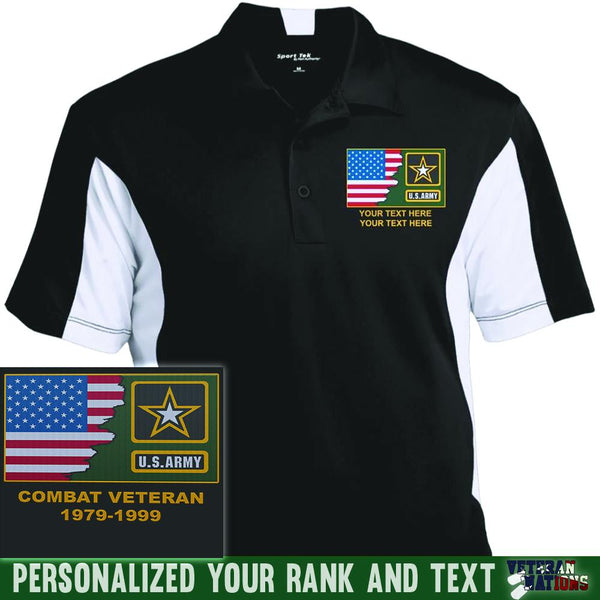 US Army Logo - Personalized Embroidered Sport-Tek® Performance Polo Shirt